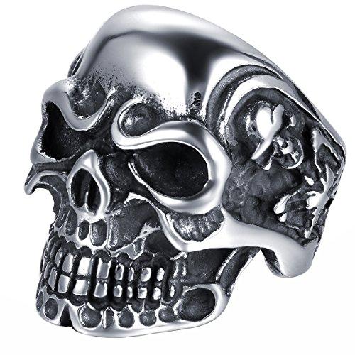 JewelryWe Schmuck Herren Edelstahl Ring Biker Band Gotik Totenkopf Schädel Edelstahlring für Halloween Weihnachten, Schwarz Silber Größe 62 - mit Geschenk Tüte