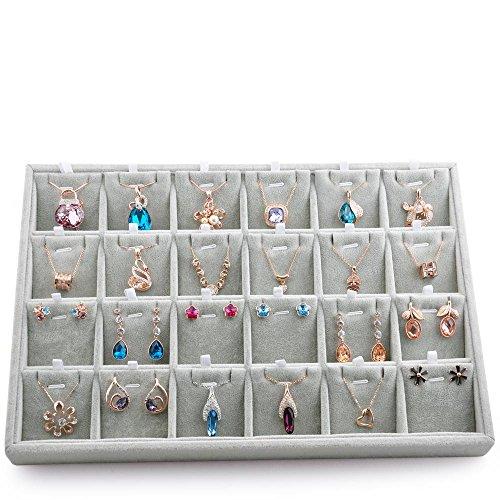 Oirlv velluto portagioie espositore per gioielli, impilabile grigio portagioielli storage gift... 24 grids pendant