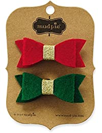 Holiday Felt Bow Clips Set, Red/Green