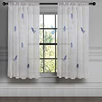 Milano Home White Spring/Summer Sheer Curtains for Living/Bed Room Embroidery Rod Pocket Window Voile Panel 100% Cotton Excellent Quality, 5.25ft