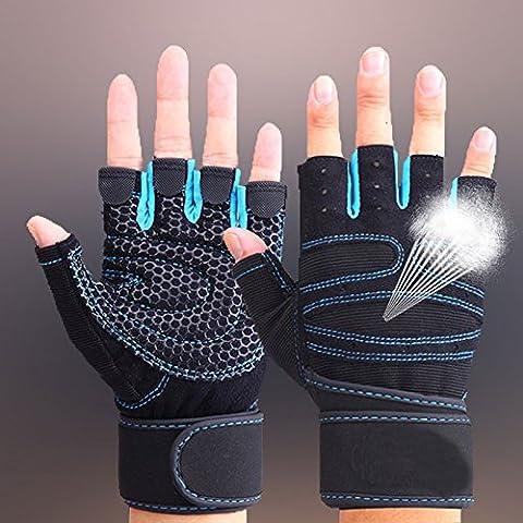 Hrph Guantes deportivos Gimnasio Guantes medio dedo respirable del levantamiento de pesas con mancuernas fitness Gimnasio Hombres Mujeres Tamaño de los guantes M / L /