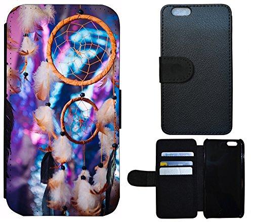 Schutz Hülle Flip Cover Handy Tasche Etui Case für (Apple iPhone 6 / 6s, 1219 See Wolken Gewitter Grau Blau) 1215 Traumfänger Dreamcatcher Lila Braun Blau