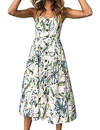 Vestidos mujer casual verano 2018,VENMO Las mujeres sexy botones de impresión de hombro vestido sin mangas princesa vestido fiesta mujer…
