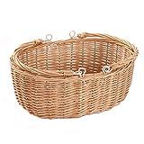 mimbre cesta de Picnic cesta con doble plegable asas, oval cesta de almacenamiento con asas. natural,Kingwillow