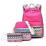 XHHWZB Baumwoll-Segeltuch-Schulrucksack-beiläufige Daypack-Umhängetasche für Teenager-Mädchen-Jungen (Farbe : Pink)