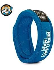 REPELLENT MAN– Bracelet anti-moustique avec bande réutilisable. Nouvelle méthode de diffusion nano-technologique – Qualité Supérieure – couleur sarcelle – 100% naturel