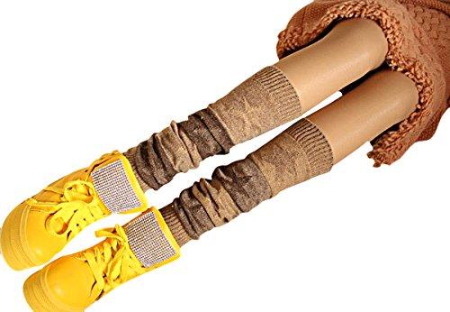 Butterme Bein Wärmer Stern gedruckter Winter Frauen Boho strickte Häkelarbeit Knie hohe lange Socken Aufladungs Stulpe Socken (Khaki) (Stretch-knit-bein-wärmer)