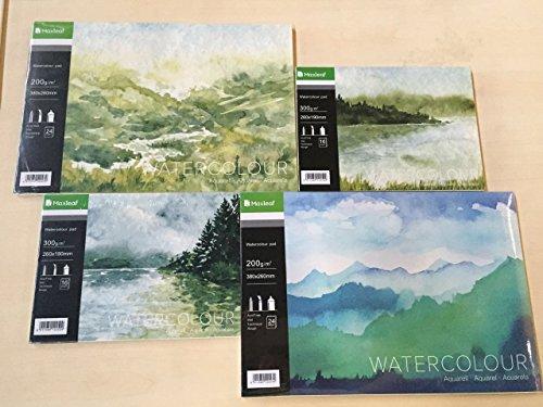 maxleaf Sketch Book Aquarell Pad von 16Blatt 8K Größe 300gsm Aquarellpapier (379* 260mm)...