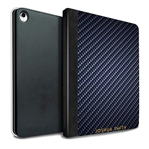 eSwish Personalisiert Kohlenstoff-Faser Muster PU-Leder Hülle für iPad Pro 10.5 (2017) / Blau Stempel Design/Initiale/Name/Text Tablet Schutzhülle/Tasche/Etui (Kohlenstoff-faser-buchstaben)