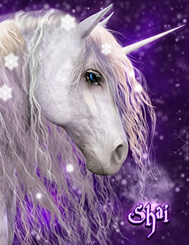 Shai: Unicorn Fantasy, Personalized Journal, Diary, Notebook, 105 Lined Pages, Christmas, Birthday, Friendship Gifts for Kids, Teens, Men and Women, Book Size 8 1/2