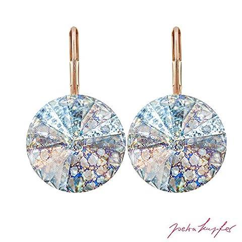 Pierced Earrings 'Arrondi' with original Swarovski Elements Crystals (Crystal White Patina / 14,0 mm)