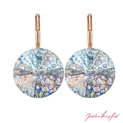 Anelli dell'orecchio arrondi con cristalli originali di swarovski elements (crystal white patina / 14,0 mm)