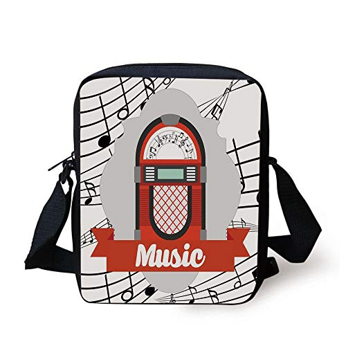 ntage Music Radio Box Cartoon Image with Notes Artwork Print,Red Grey Black and White Print Kids Crossbody Messenger Bag Purse ()