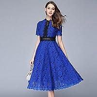 HYW Vestido con Encaje de Encaje en la Parte Larga del Columpio Femenino,Azul de Prusia,L