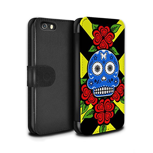 Stuff4 Coque/Etui/Housse Cuir PU Case/Cover pour Apple iPhone SE / Rose/Bleue Design / Crâne Calavera Collection Rose/Bleue