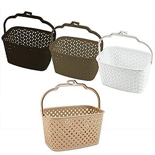 SR Hanging Peg Basket Bag Rattan Style Plastic Peg Storage Folding Handle (Beige)