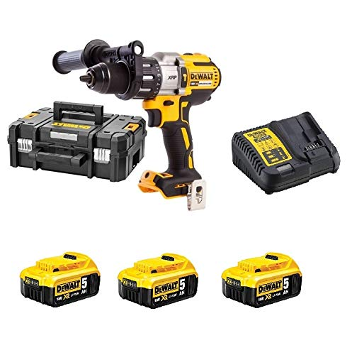 Dewalt DCD996P3-QW Taladro percutor BL 18 V/5 Ah, Negro y amarillo, Set de 2 Piezas