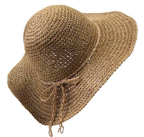 Da donna estate cappello di paglia cappello da sole pieghevole da spiaggia Cap 1201# Light Coffee Taglia unica