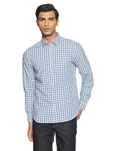 Amazon Brand- Symbol Men's Checkered Regular Fit Casual Shirt (SS18-SMCS-105_Blue_X-Large)