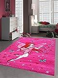 Kinderteppich Spielteppich Kinderzimmer Mädchen Zauberfee Fee Tinkerbell Pink Größe 140x200 cm