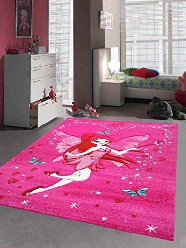 Kinderteppich Spielteppich Kinderzimmer Mädchen Zauberfee Fee Tinkerbell Pink Größe 80x150 cm