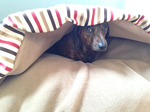red-stripe-dog-snuggle-bed-handmade-burrow-sack-cave-pillow-small-medium-large-extra-large