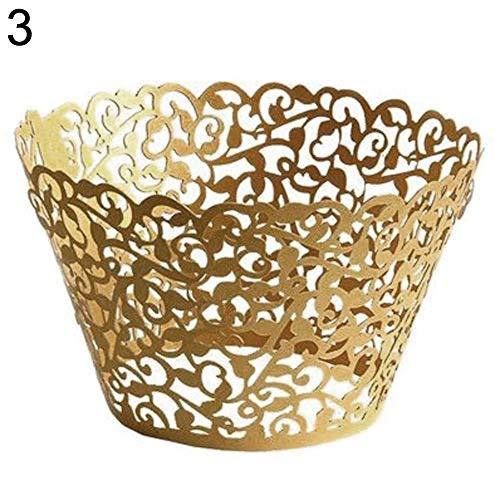 iligrane Cupcake-Cupcake-Cupcake-Förmchen, für Hochzeit, Geburtstag, Party-Dekoration Golden 20pcs ()