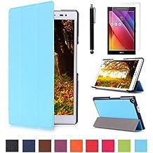 Funda ZenPad 8.0 Z380C Cuero,Ultra Slim PU Cuero Smart Case Cover Funda de Cuero Piel con Soporte para Asus Zenpad 8.0 Z380C/KL Tablet de 8'' Pulgadas Funda Carcasa con Soporte funtion + Protectores de Pantalla + lápiz óptic(Azul claro)