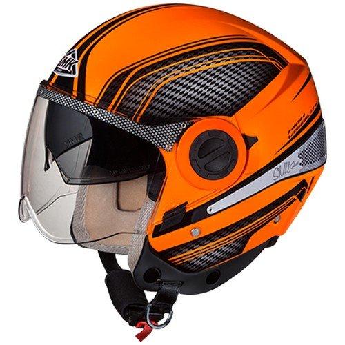 SMK HV720 Sirius Sharp Hi-Vision Graphics Open Face Helmet (Orange and Black, M)
