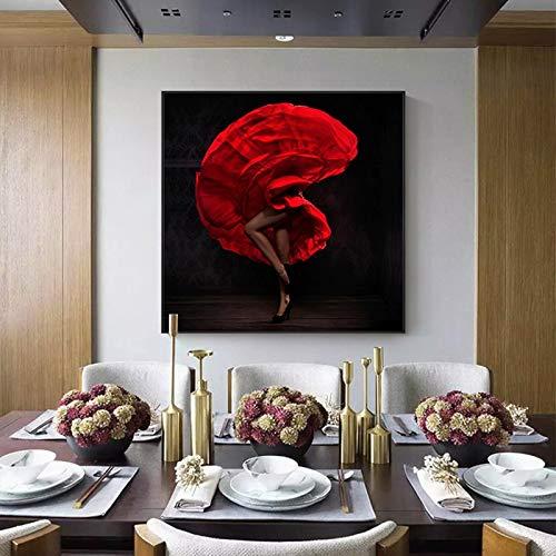 jiushice Ragazza Latina Calda Astratta Senza Cornice in Vestito Rosso su Tela di Poster di Grande Stampa Moderna Arte della Parete per Soggiorno 60x60 cm