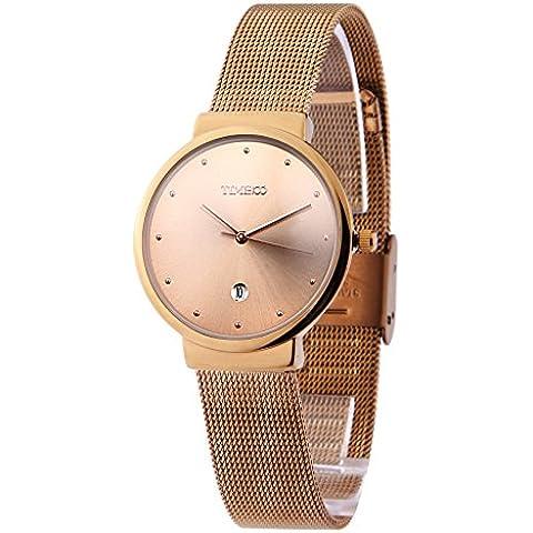 Time100 W50199G.02A Reloj pulsera de moda con calendario para hombre, correa de metal de color dorado