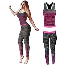 Bonjour - Vêtements de sport pour femmes: ensemble veste / gilet et top / legging, stretch-fit pour yoga et gymnastique, Pink Vest Top, One Size ( UK 8 - 14 )