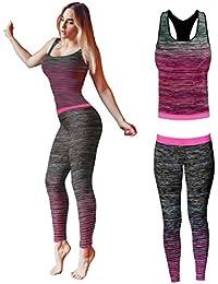 Conjunto de ropa de yoga o entrenamiento para mujer de Bonjour®, parte superior y mallas ajustadas Stretch-Fit , Pink Vest Top, One Size ( UK 8 - 14 )