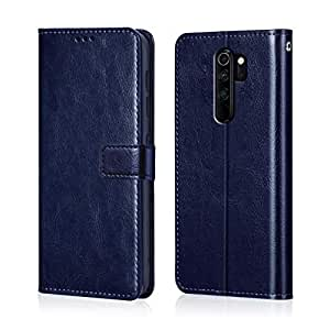 WOW Imagine Redmi Note 8 Pro Flip Case | Leather Finish | Inside TPU with Card Pockets & Stand | Magnetic Closure | Shock Proof Wallet Flip Cover for Xiaomi Redmi Note 8 Pro - Blue
