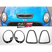 4 Cubiertas brillantes para las luces traseras y focos delanteros de color negro para Mini Cooper 2007-2013, modelos R56 R57 R58 R59
