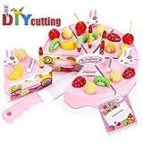Daypicker 38 Pezzi DIY Frutta Compleanno Taglio Torta Cibo Giocattolo Gioco Impostato Torta di Compleanno Bambini Pink