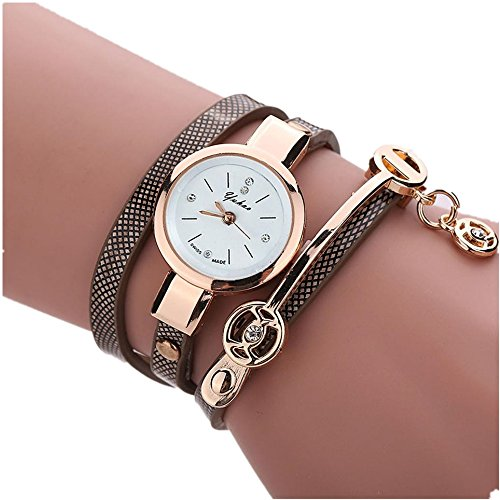 Metall Armbanduhr Damen, DoraMe Frauen Analog Quartz Uhr Mode Klassische Uhren 2018 Neue Luxus (Braun)