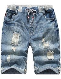 YoungSoul Shorts enfant - Short en jean effet vieilli - Pantacourt bermudas d'été ado garçon 3-14 ans