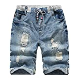 YoungSoul Jungen Shorts Bermuda Jeans Shorts Kinder Sommer Cargo Kurze Hose 134-140 Distressed Denim