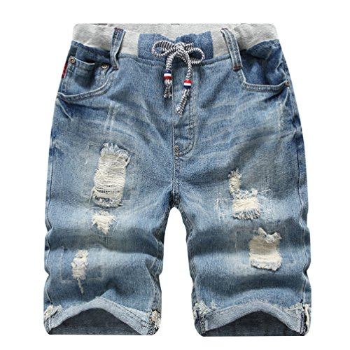 YoungSoul Jungen Shorts Bermuda Jeans Shorts Kinder Sommer Cargo Kurze Hose 152-164 Distressed Denim - Denim-pull-on Shorts