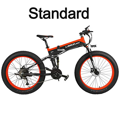 T750Plus 27 Speed 26*4.0 Fat bicicleta eléctrica plegable 1000W 48V 10Ah batería de litio oculta, suspensión completa de la bicicleta de nieve (Negro Rojo, 1000W Standard+ 1 Batería ahorrada)