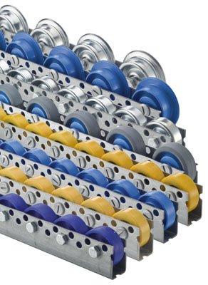 Torwegge 1 Meter Universalrollschiene, Profil 44x28x44x2 mm, verzinkt, Stahl-Röllchen mit Kugellager, Traglast 20 kg/ Rolle, Bauhöhe 53 mm, Achsabstand 150 mm