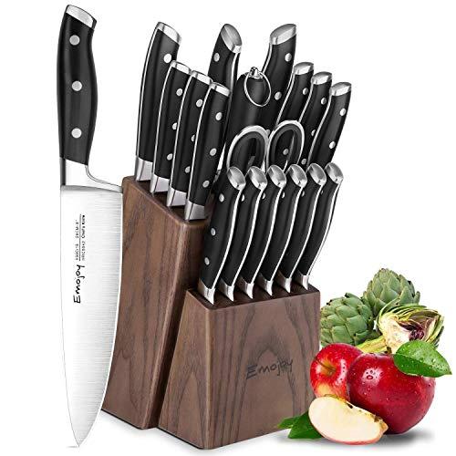Emojoy Set Coltelli, 18 Pezzi Ceppo Coltelli,Set Coltelli Cucina, Set di Coltelli da Cucina Professionale con Acciaio Tedesco,Ceppo Coltelli in Legno