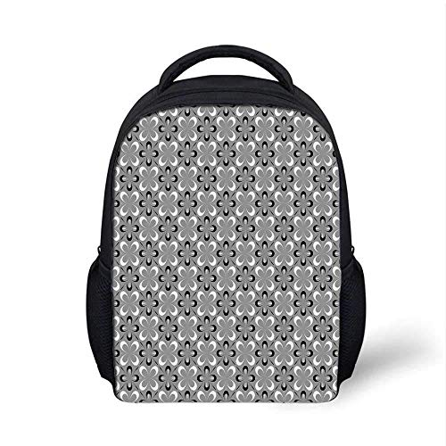 Grey Stylish Backpack,Contemporary Floral Graphic Print Various Sized Four Leaf Clovers Mod Decorative Decorative for School Travel,9.4