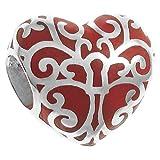 Queenberry Sterling Silber Baum der Liebe Herz rot Emaille im europäischen Stil Perle Charme
