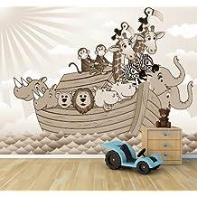 """Bilderdepot24 Autoadhesivo Fotomural """"Los niños wallpaper - Arca de Noé de la historieta - sephia"""" 420x270 cm - papel pintado - Fototapete - la fabricación made in Germany!"""