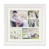 PHOTOLINI Fotocollage-Bilderrahmen 30x30 cm im Landhaus-Stil Weiss Collagerahmen Bildergalerie-Rahmen für 5 Bilder Wechselrahmen mit Passepartout