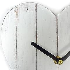 Idea Regalo - Just Contempo orologio da parete, Legno, Vintage White Heart, 3x21x20 cm