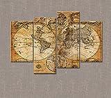 Marcus R Caveggf Multipart Canvas - 4 Tafeln - Weltkarte Wandbilder, Leinwandbild, Dekoratives Bild, Leinwand Extra Large -4210-GZD-58.67 * 38.67in