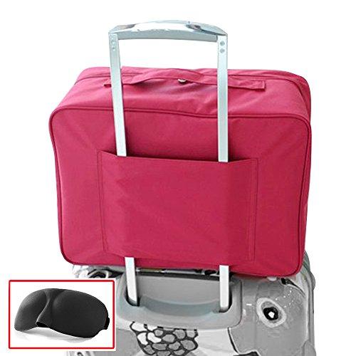 Nylon impermeabile Duffle Bag bagagli di corsa Borsone con carrello manicotto di sacchetto di volo per Holiday Gym Clothes Valigia sacchetto dell'imballaggio con Eye Mask (rosso)